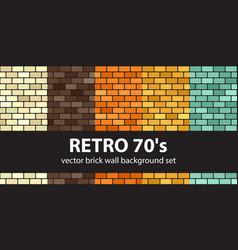 Brick pattern set retro 70s seamless brick wall vector