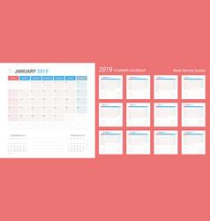 calendar 2019 planner design starts sunday vector image