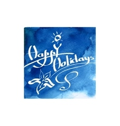 Calligraphic greetings wishes Happy Holidays vector