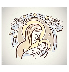 Christmas mary with jesus vector image