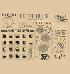 Coffee menu craft placemat vector