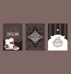 coffee shop banners cafe menu cover line icons vector image