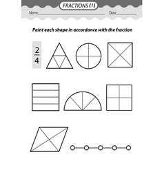 Color fractions coloring book vector