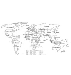 Contour world map with countries names vector