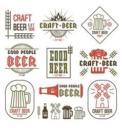 Craft beer brewery emblems vector