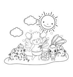 cute cupid chubby girl with rabbit vector image