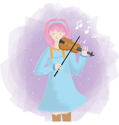 Cute girl playing a violin vector