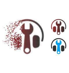 Destructed pixel halftone headphones tuning wrench vector