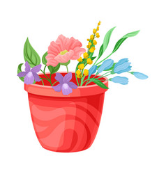 Different flowers and twigs put in pot isolated on vector