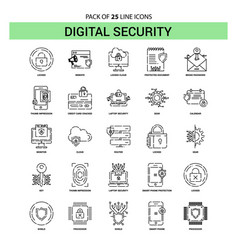 Digital security line icon set - 25 dashed vector