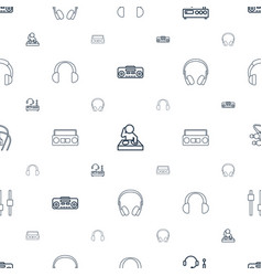 Dj icons pattern seamless white background vector