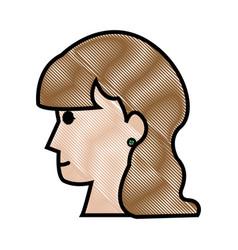 drawing profile head woman female long hair vector image