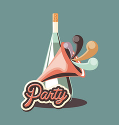 drink bottle alcohol celebration retro party vector image