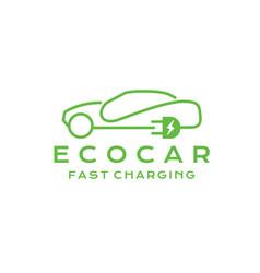 Eco-friendly car logo design car with electric vector