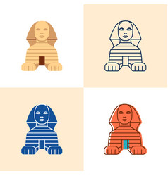 egyptian sphinx icon set in flat and line style vector image