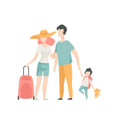 family travelling father mother and son going on vector image