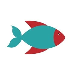 fish cute animal sea little icon vector image