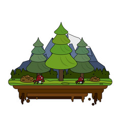 Forest on flotating piece of land icon image vector
