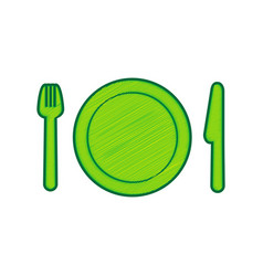 Fork plate and knife lemon scribble icon vector