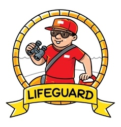 Funny lifeguard Emblem Profession ABC series vector