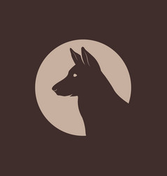 german shepherd head silhouette logo vector image