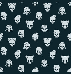 Girl skull seamless pattern vector