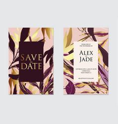 gold rose dark violet and black palm vector image