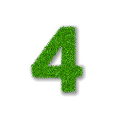 grass number four green 3d number four isolated vector image