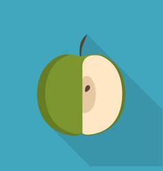 Green half apple icon in flat long shadow design vector