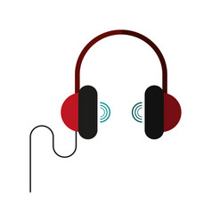 headphones with sound waves icon image vector image