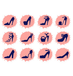 high heels shoes set women shoes icons flat style vector image