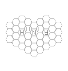 Honeycomb set in shape of heart Beehive element vector image