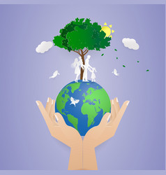 Human two hand holding worldsave natureworld vector