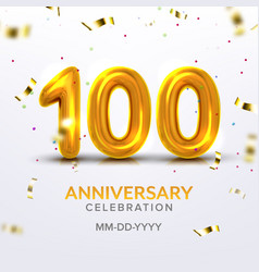 hundredth anniversary celebration number vector image
