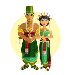 Indonesian central java wedding ceremony vector
