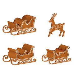 isolated gingerbread sledges and reindeer vector image