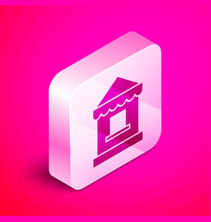 Isometric ticket box office icon isolated on pink vector