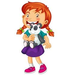 Little girl holding panda bear vector