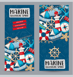 marine nautical travel concept vertical banner vector image