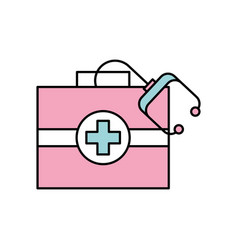 Medical kit first aid with stethoscope equipment vector