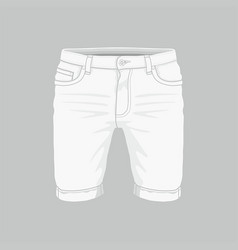 mens white denim shorts vector image
