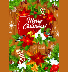 merry christmas tree presents greeting card vector image