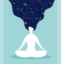Mindfulness meditation and yoga background in vector
