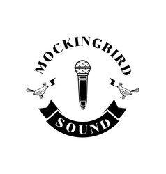 Mockingbird sound logo with microphone vector