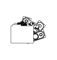 monochrome contour of folder with money accounts vector image