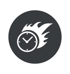 Monochrome round burning clock icon vector