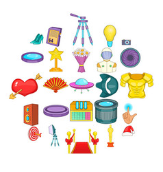 Movie house icons set cartoon style vector