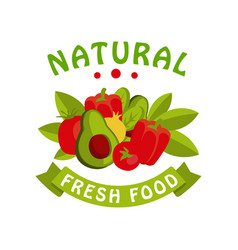 Narural fresh food logo template badge for vector