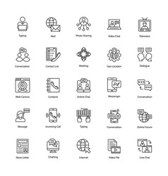 Network and communication icons set vector
