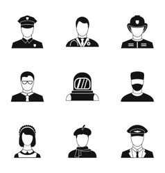 Occupation icons set simple style vector